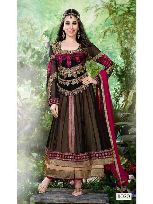 11020Black and Deep Pink Anarkali Suit