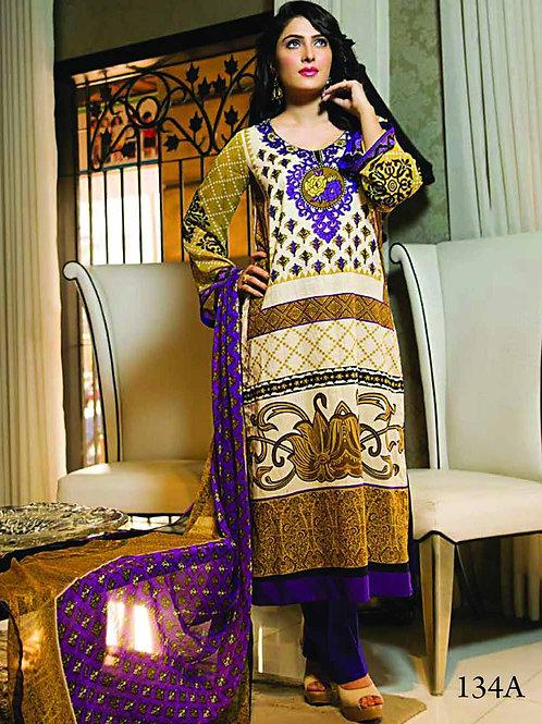 134A Navajo White and Purple Pakistani Suit