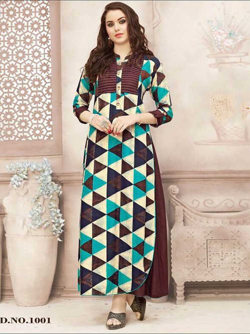 1001 Coffee and Multicolor Gown Style Stitched Kurti