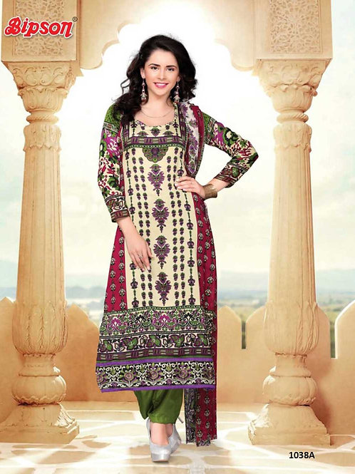 1038A Cream and Red Cotton Straight Suit