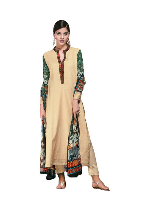 01Beige and Green Cotton Satin Jacquard Party Wear Straight Suit