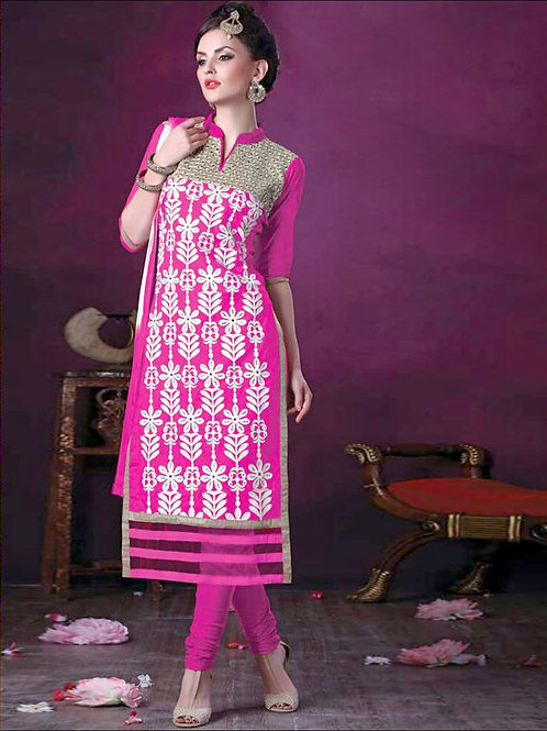 106Magenta and White Daily Wear Embroidered Satin Cotton Designer Suit