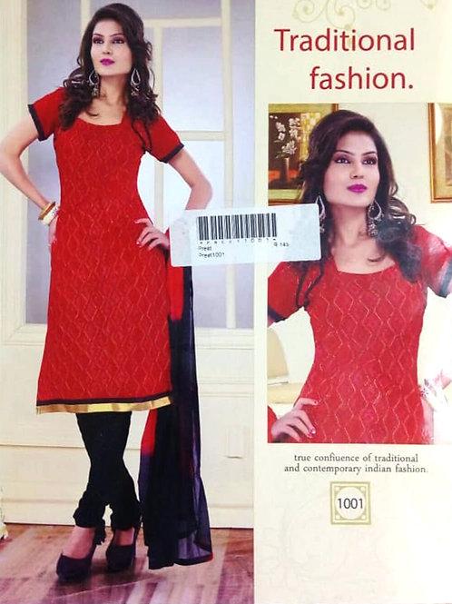 1001 Red Designer Daily Wear Salwar Suit