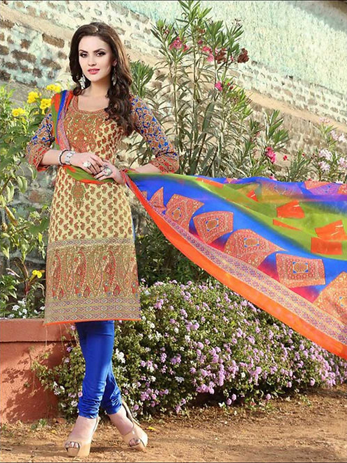 005Ivory and Multicolor Printed Pure Cotton Long Concept Daily Wear Salwar Suit