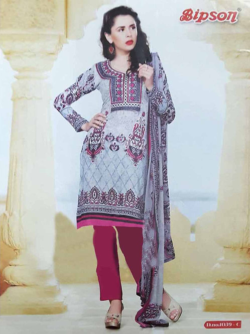 1039C Gray and Magenta Cotton Straight Suit