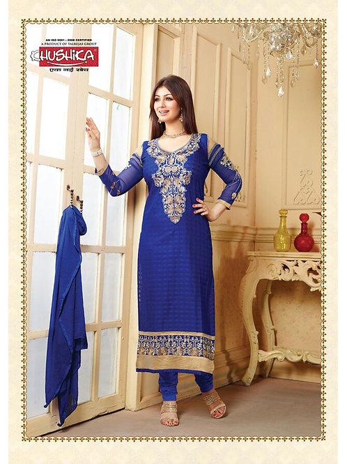 10011 Blue Cotton Straight Suit