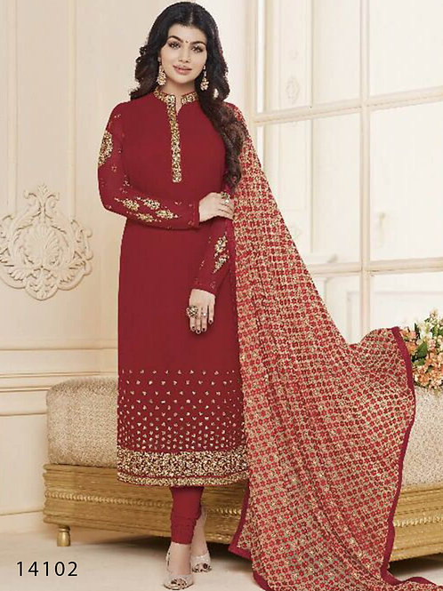14102 Red Designer Georgette Straight Suit