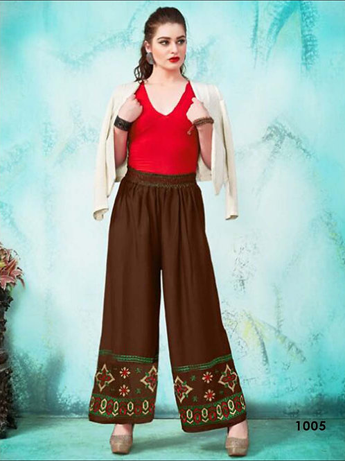 1005 Coffee Party Wear Stitched Palazzo