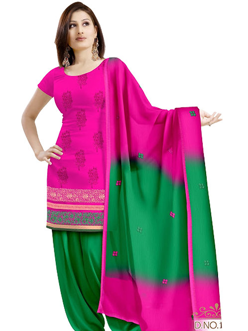 1006 Magenta and Green Velvet Embroidered Dress Material