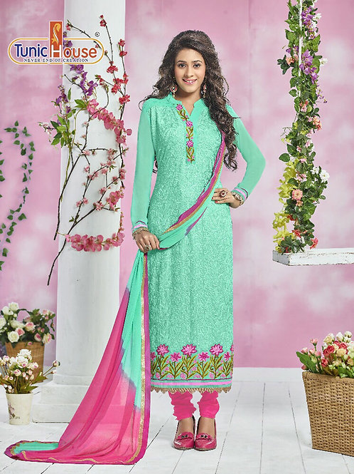13007AquaBlue and DeepPink Party Wear Georgette Straight Suit
