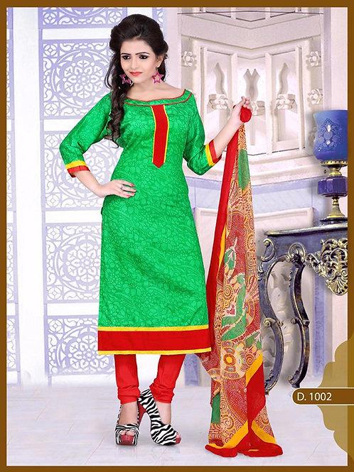 1002 Designer Green Chudidar Suit
