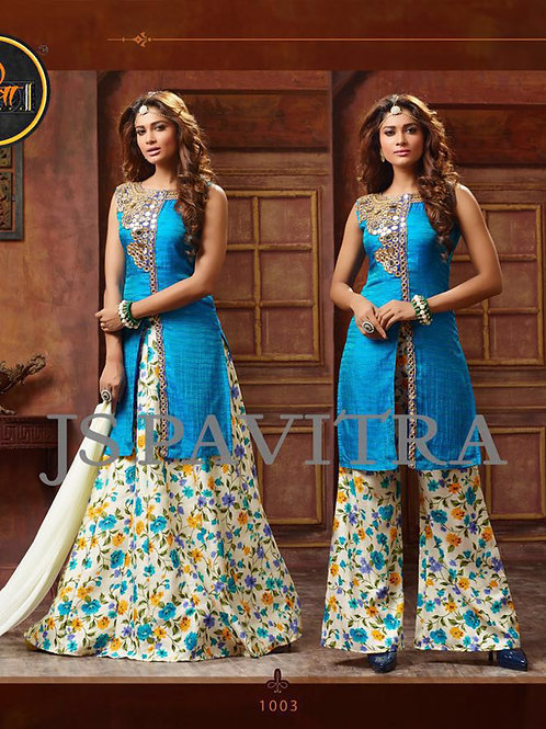 1003SkyBlue and Multicolor Fancy Function Wear Designer Suit