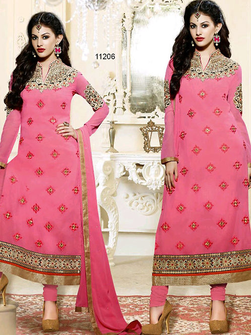 11206 Pink And Golden Straight Suit