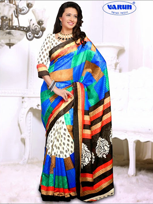 19002A White and Multicolor Daily Wear Cotton Based Saree