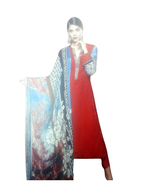 02Red and SkyBlue Cotton Satin Jacquard Party Wear Straight Suit