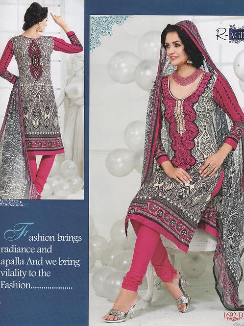 1692B Black and White Cotton Salwar Suit