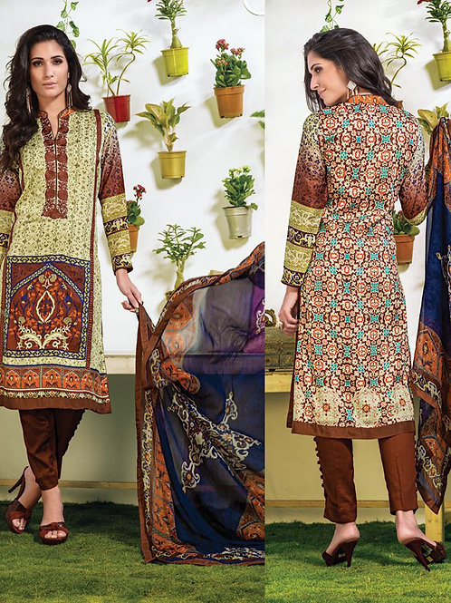 06Beige and Brown Party Wear Cotton Modal Straight Suit