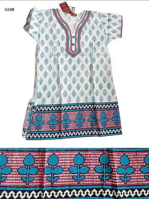 068B Cream and Sky Blue Designer Cotton Kurtis