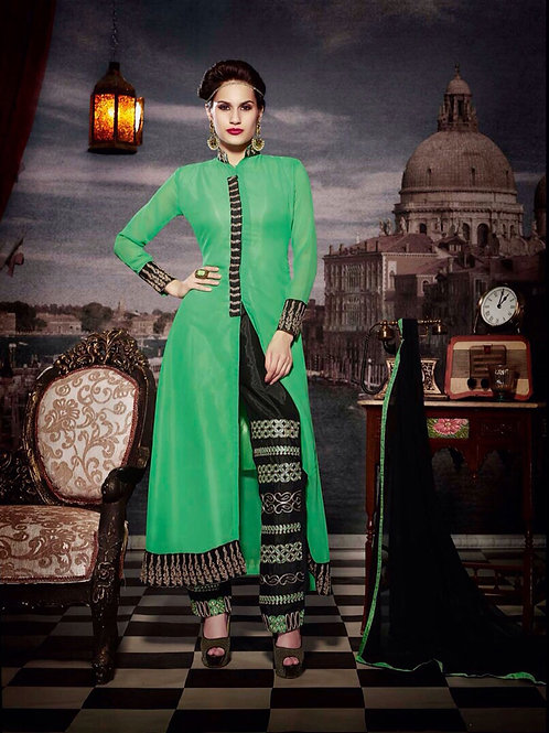 10115 Forest Green and Black Faux Georgette Designer Suit