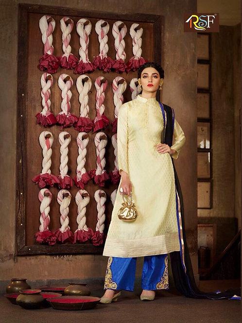10036Ivory and Royal Blue Designer Suit