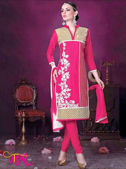 108DeepPink Daily Wear Embroidered Satin Cotton Designer Suit