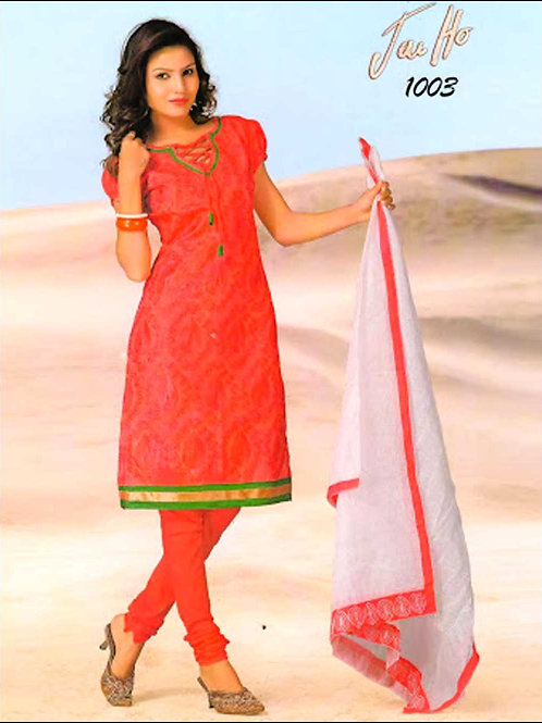 1003Red and Green Chanderi Chudidar Suit