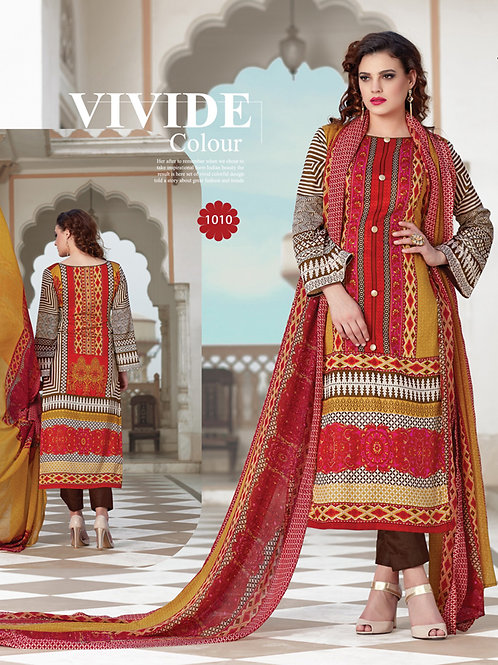 1010Multcolor and Brown Party Wear Printed Pure Glace Satin Cotton Straight Suit
