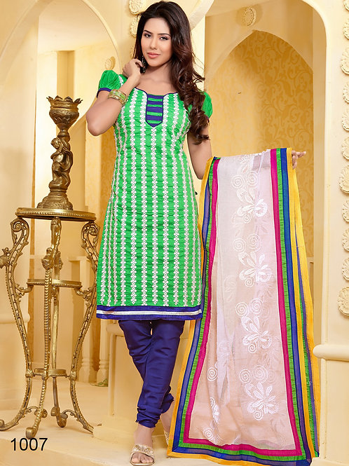 1007 Parrot Green Designer Chanderi Salwar Suit