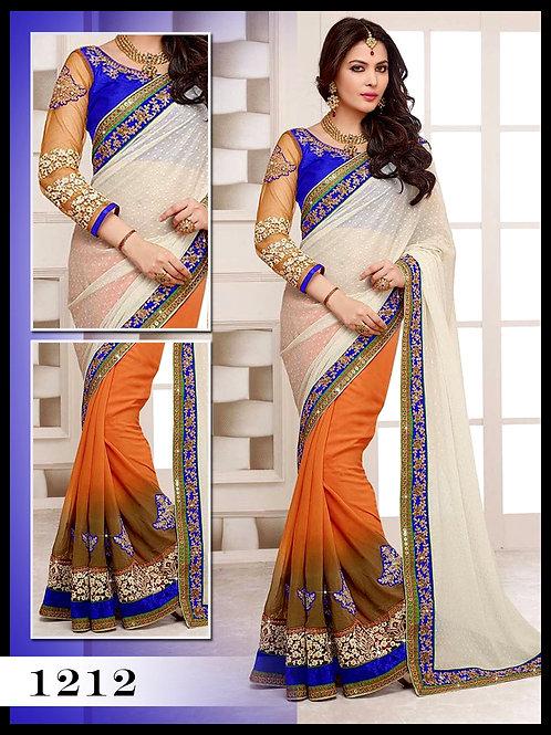 1212Royal Blue And Off White orange Designer Saree