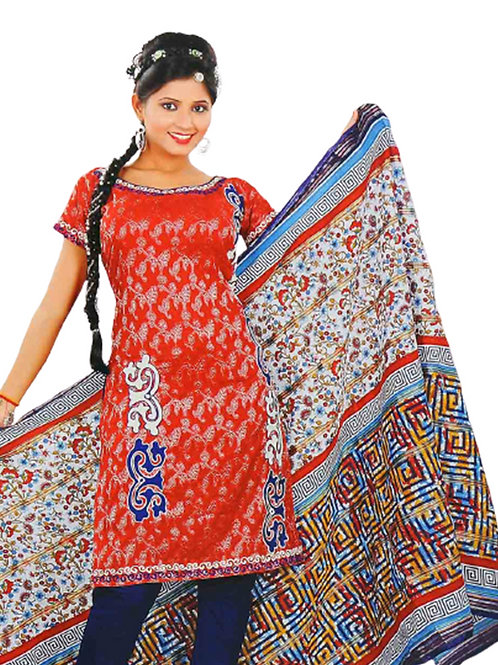 1313 Carrot Red and Blue Salwar Suit