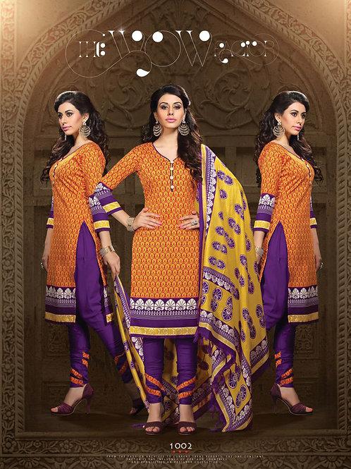 1002Orange and Purple Daily Wear Heavy Banglori Printed Salwar Suit