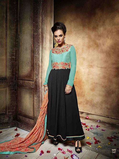 147AquaGreen and Black Wedding Wear Embroidered Georgette Designer Suit