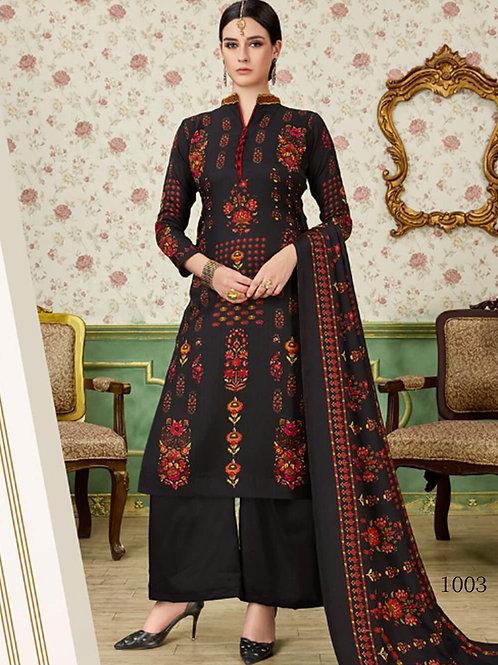 1003 Black Printed Pashmina Plazo Suit