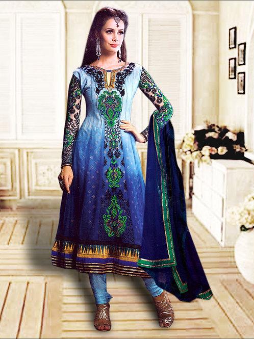 1209SlateBlue and NavyBlue Anarkali Suit
