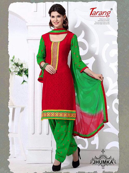 101Red and Green Designer Patiyala Suit