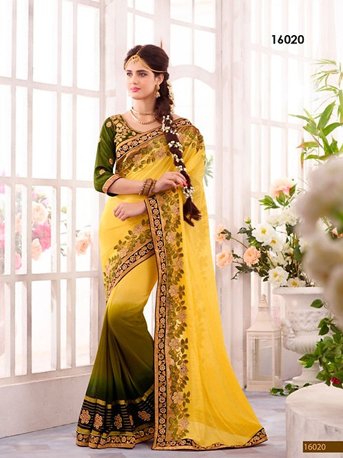 16020Yellow and OliveGreen Designer Ethnic Wedding Wear Saree