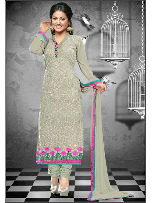 1113AshGray and Pink Georgette Straight Suit