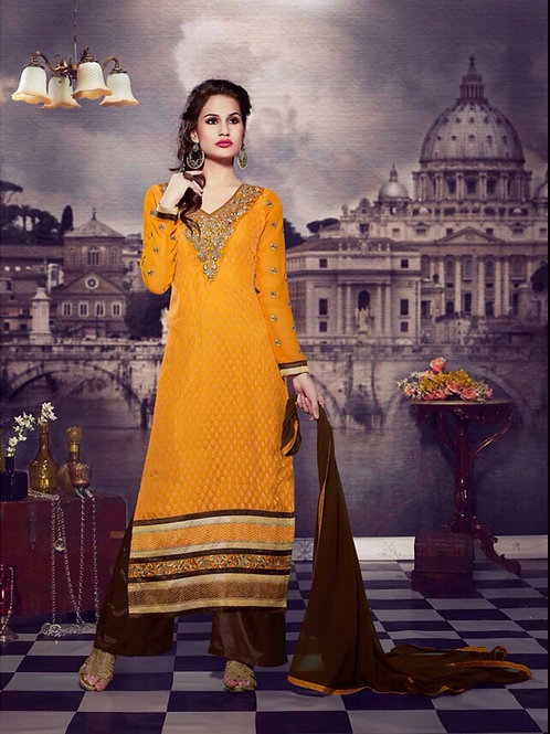 10108Yellow and DarkBrown Brasso Straight Suit