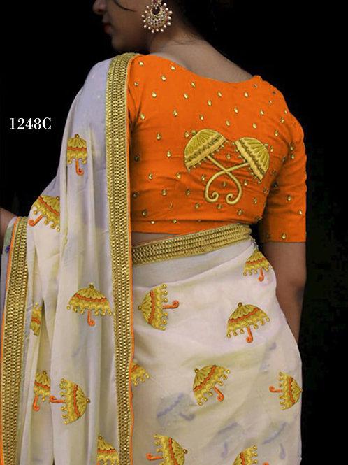 1248C Cream and Saffron Designer Chanderi Silk Saree