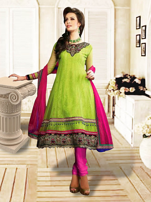 1217Parrot Green and Pink Anarkali Suit