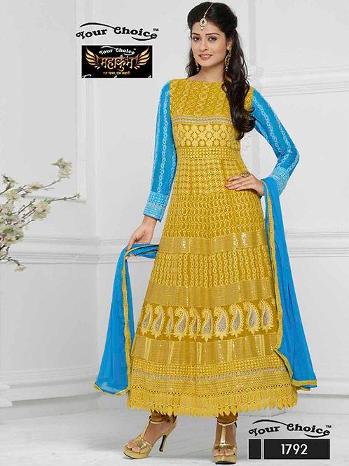 1792 Yellow Chiffon Anarkali Suit