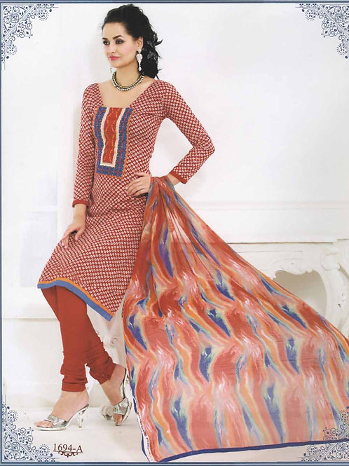 1694A Red and White Cotton Straight Suit
