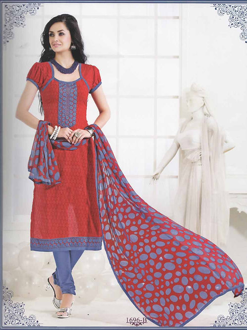 1696B Red and Blue Cotton Straight Suit