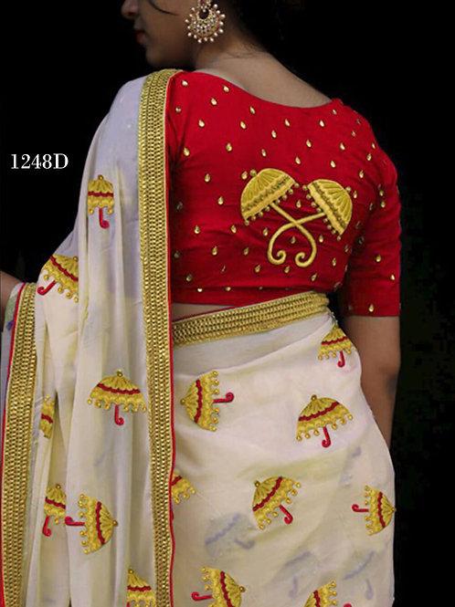 1248D Cream and Dark Red Designer Chanderi Silk Saree