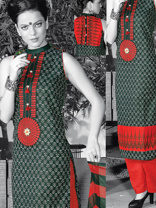 0951B Black and Red Cotton Palazzo Suit