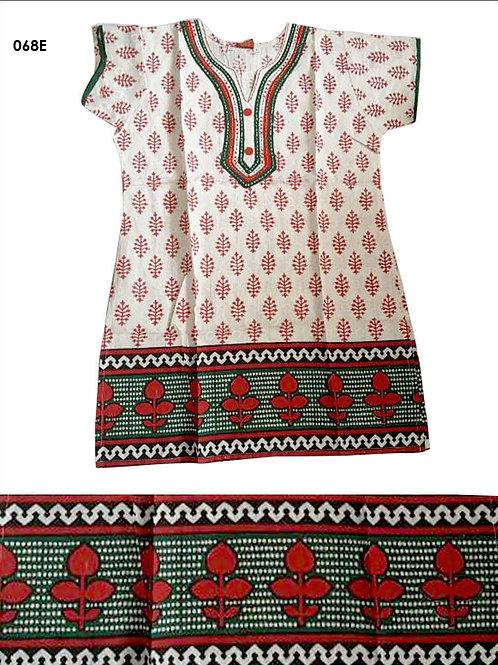 068E Cream and Red Designer Cotton Kurtis
