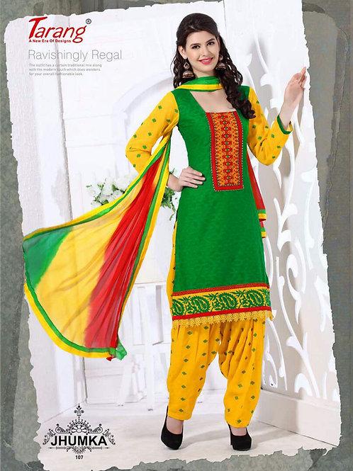 107 Green and Yellow Designer Patiyala Suit