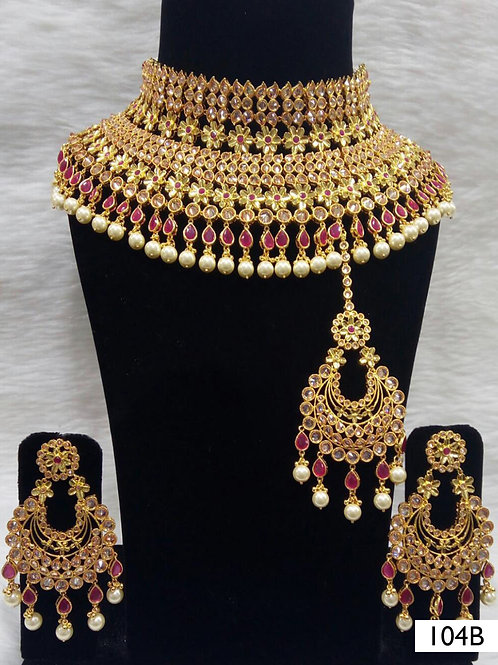 104B Maroon Bridal Wear Necklace Set With Maang Tika