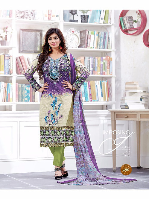 1007Purple and Green Silk Crape Daily Wear Straight Suit