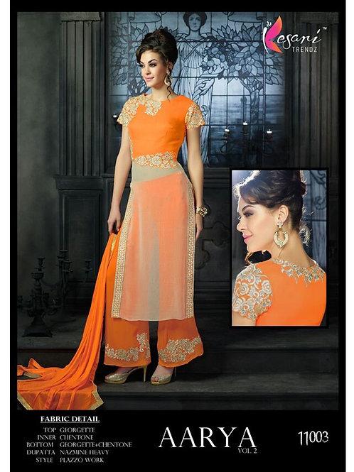 11003 Orange Georgette Plazo Suit